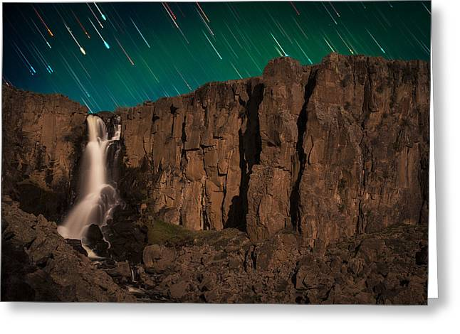 Mike Berenson Greeting Cards - Airglow Star Trails Over North Clear Creek Falls Greeting Card by Mike Berenson
