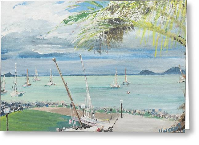 Blue Sailboat Greeting Cards - Airlie Beach  Australia Greeting Card by Vincent Alexander Booth
