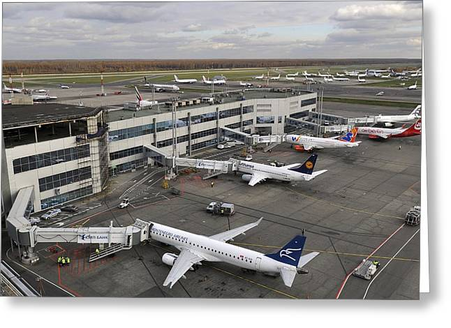 Taxiway Greeting Cards - Airliners parked at Moscow airport Greeting Card by Science Photo Library