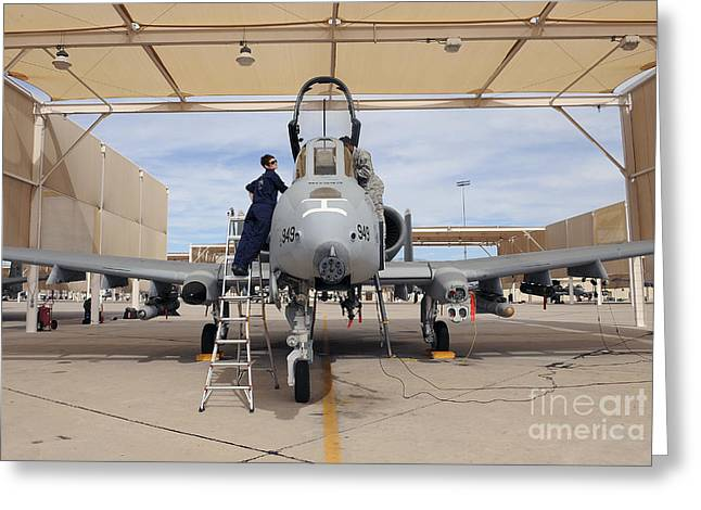 Scrutiny Greeting Cards - Airmen Perform Pre-flight Checks On An Greeting Card by Stocktrek Images