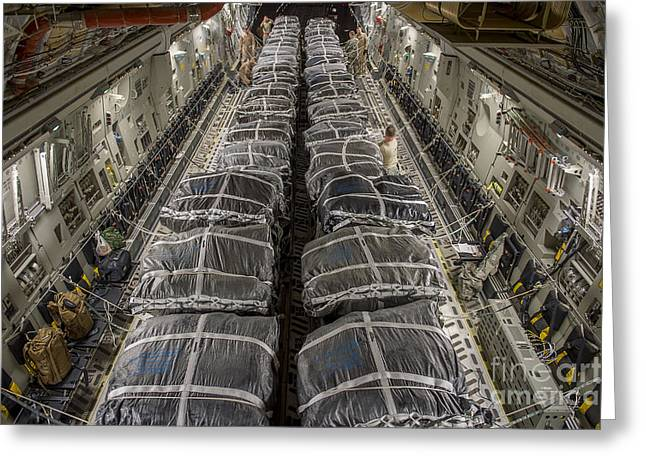 Deployment Greeting Cards - Airmen Prepare Pallets On A C-17 Greeting Card by Stocktrek Images