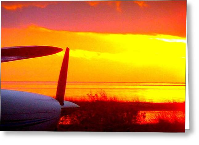 Cedar Key Greeting Cards - Airplane an Sunset Greeting Card by Sheri McLeroy