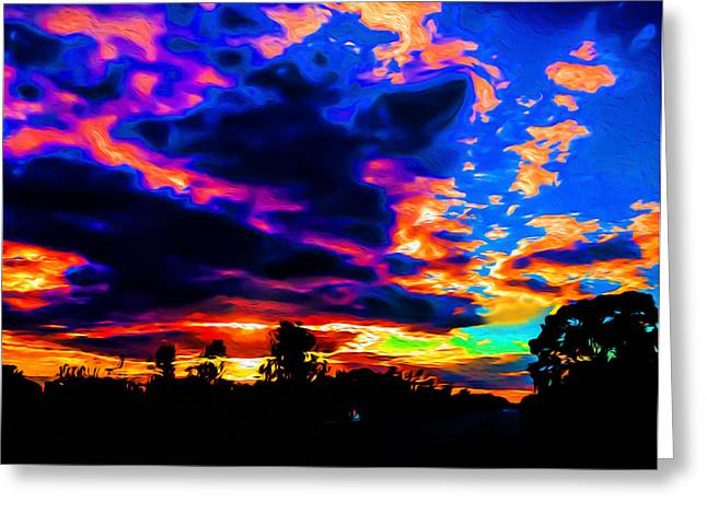 Colorful Cloud Formations Greeting Cards - Airplane Cloud Formation Greeting Card by Ron Fleishman