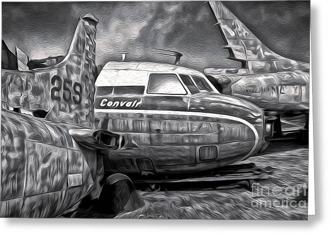 Gregory Dyer Greeting Cards - Airplane Graveyard - Black and White Greeting Card by Gregory Dyer