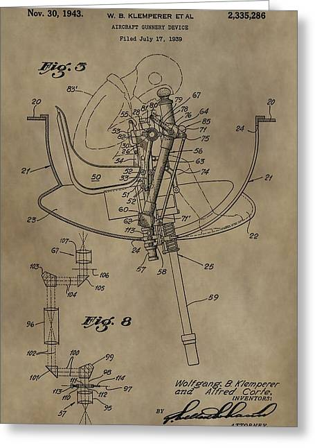 Weaponry Greeting Cards - Airplane Gunnery Patent Greeting Card by Dan Sproul