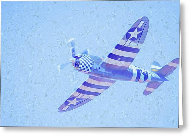 Jet Star Greeting Cards - Airplane in blue sky Greeting Card by Lanjee Chee