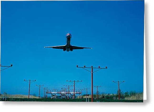 747 Greeting Cards - Airplane Landing Philadelphia Greeting Card by Panoramic Images
