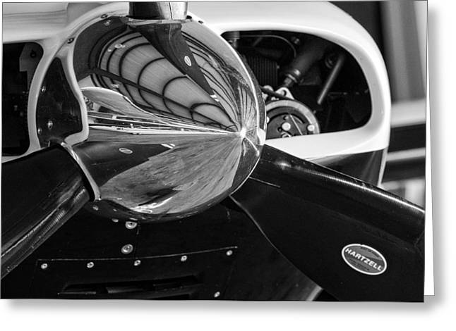 White Greeting Cards - Airplane nose cone in black and white Greeting Card by Andy Crawford