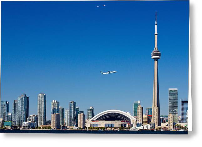 Communications Tower Greeting Cards - Airplane Over City Skylines, Cn Tower Greeting Card by Panoramic Images