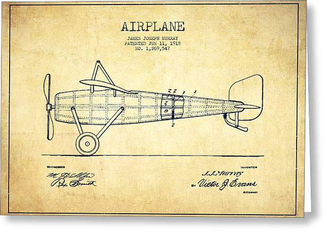 Airplane Patent Drawing From 1918 - Vintage Greeting Card by Aged Pixel