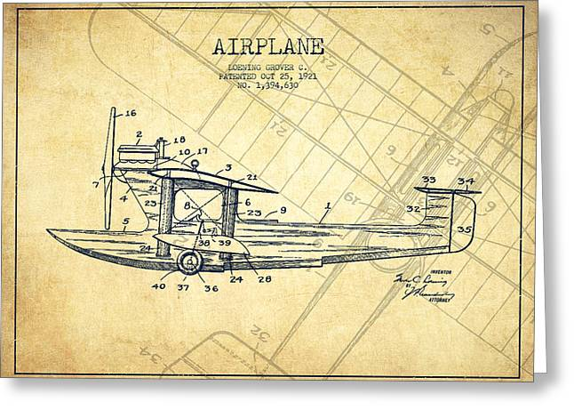 Airplane Greeting Cards - Airplane Patent Drawing from 1921-Vintage Greeting Card by Aged Pixel