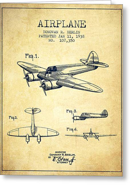 Airplane Greeting Cards - Airplane patent Drawing from 1938-Vintage Greeting Card by Aged Pixel