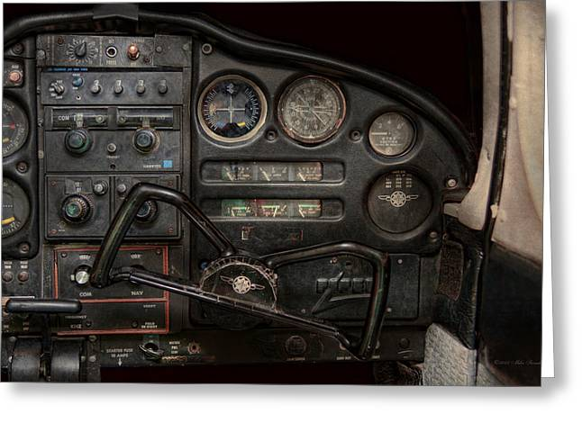 Passenger Planes Greeting Cards - Airplane - Piper PA-28 Cherokee Warrior - A warriors view Greeting Card by Mike Savad