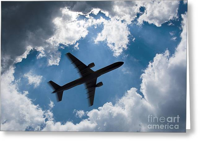 Airliners Photographs Greeting Cards - Airplane silhouette 2 Greeting Card by Tony Cordoza