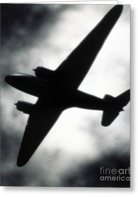 Dc3 Greeting Cards - Airplane silhouette Greeting Card by Tony Cordoza