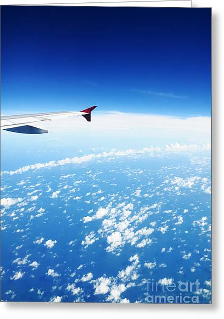 William Voon Greeting Cards - Airplane Wing Against Blue Sky Horizon Greeting Card by William Voon