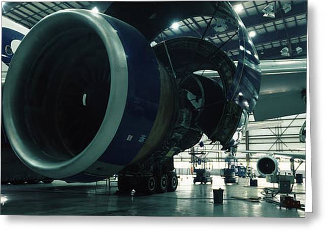 Commercial Photography Greeting Cards - Airplanes In A Hangar, Mirabel Airport Greeting Card by Panoramic Images