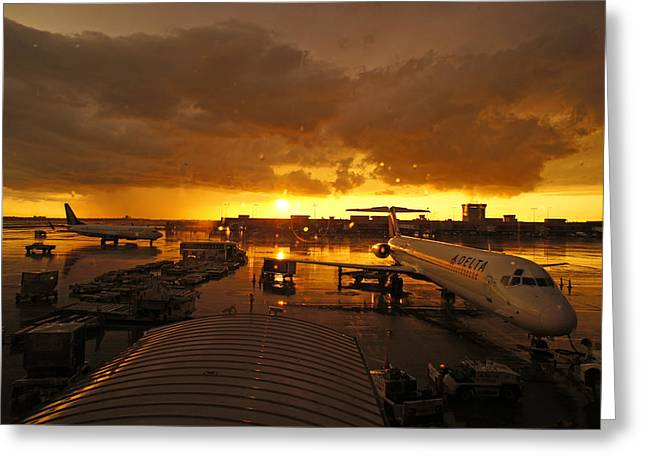 Airport After The Rain Greeting Card by Chikako Hashimoto Lichnowsky