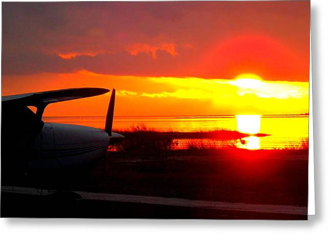 Airport Sunset 1 Greeting Card by Sheri McLeroy