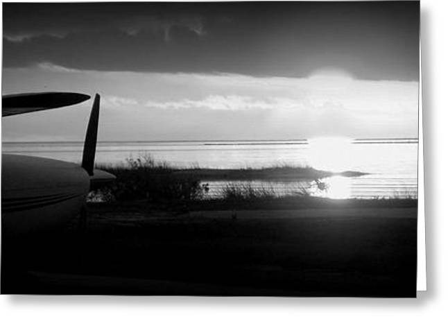 Cedar Key Greeting Cards - Airport Sunset B W Greeting Card by Sheri McLeroy