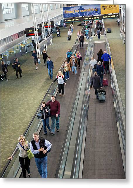 Airport Travelators Greeting Card by Jim West