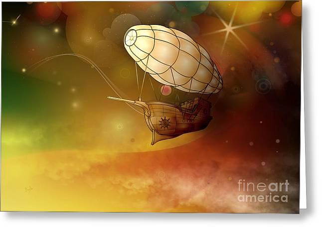 Mechanical Mixed Media Greeting Cards - Airship Ethereal Journey Greeting Card by Bedros Awak