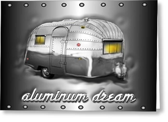 Moon Digital Art Greeting Cards - Airstream aluminum dream Greeting Card by Darlene Grubbs