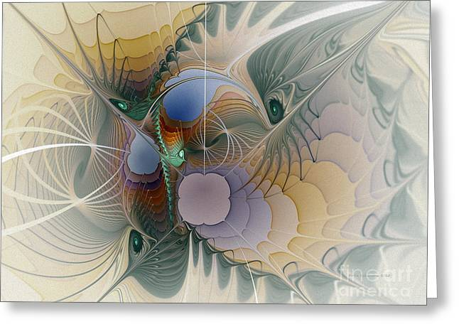 Geometric Image Greeting Cards - Airy Space-Fractal Art Greeting Card by Karin Kuhlmann