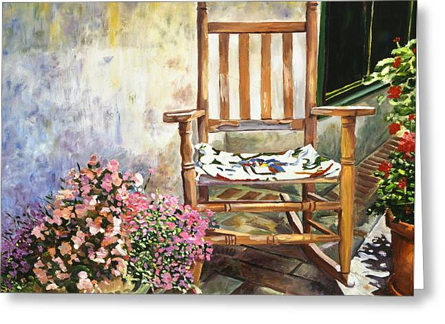 Rocking Chairs Paintings Greeting Cards - Aix Country Patio Greeting Card by David Lloyd Glover