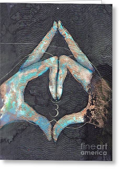Ajna Greeting Cards - Ajna - third eye chakra mudra Greeting Card by Ti Campbell-Allen