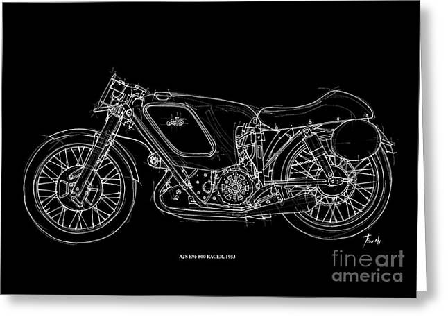 Handmade Drawings Greeting Cards - AJS E95 500 Racer 1953 Greeting Card by Pablo Franchi
