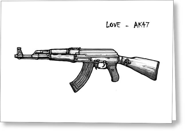 Ak Greeting Cards - AK - 47 gun drawin art poster Greeting Card by Kim Wang