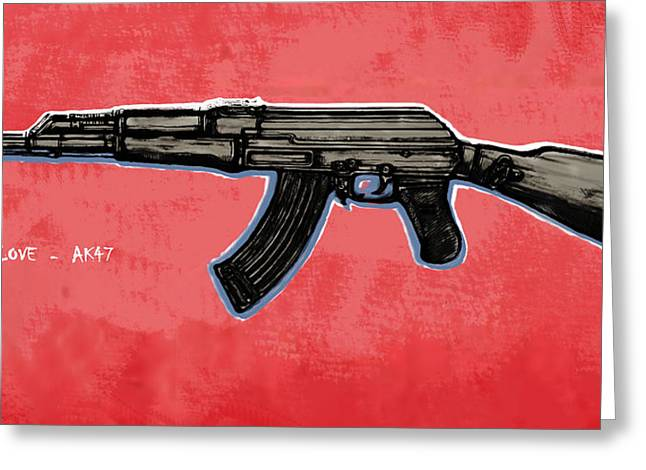 Ak Greeting Cards - AK - 47 gun pop art drawin poster Greeting Card by Kim Wang