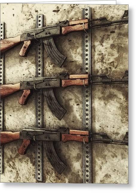 Ak47 Greeting Cards - AK-47 Gun Rack Greeting Card by Liam Liberty