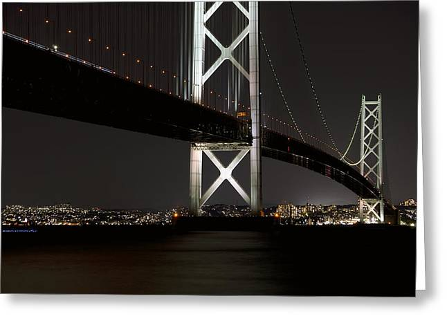 Osaka Greeting Cards - Akashi Kaikyo Bridge Japan Greeting Card by Daniel Hagerman