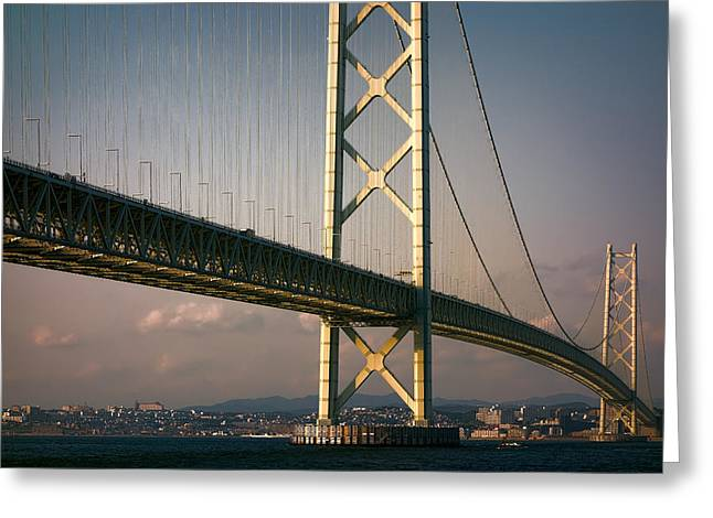 Akashi Kaikyo Bridge Sunset Greeting Card by Daniel Hagerman