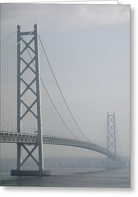 Akashi Kaikyo Suspension Bridge Of Japan Greeting Card by Daniel Hagerman