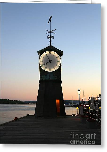Sunset In Norway Greeting Cards - Aker Brygge Clock Tower at Sunset Greeting Card by Carol Groenen