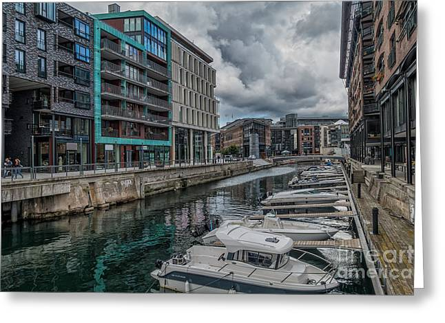 Aker Brygge Water Front Harbor In Norway Greeting Card by Frank Bach