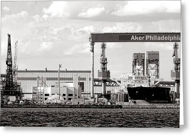 Repair Facility Greeting Cards - Aker Philadelphia Shipyard Greeting Card by Olivier Le Queinec