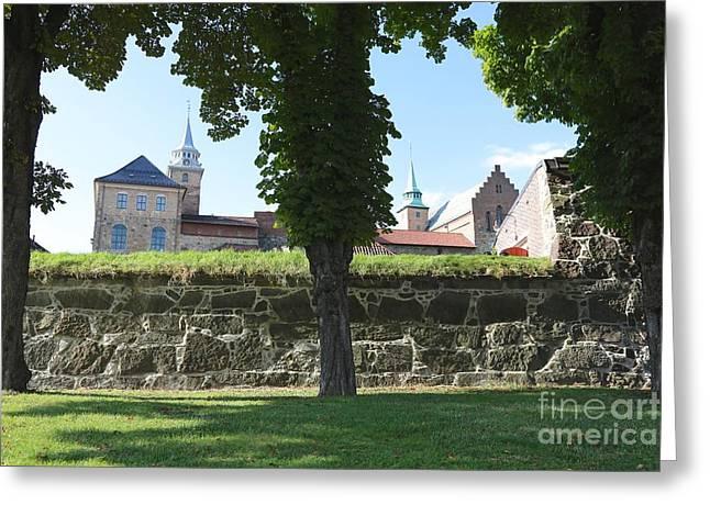 Oslo Greeting Cards - Akerhus through the Trees Greeting Card by Carol Groenen