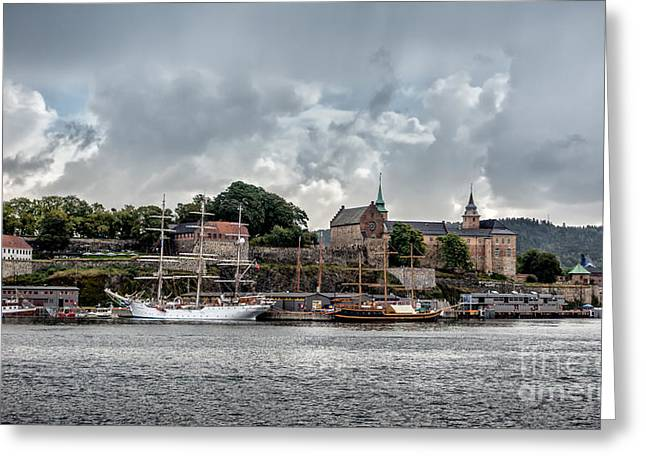 Oslo Greeting Cards - Akershus historic fortress in Oslo Norway Greeting Card by Frank Bach
