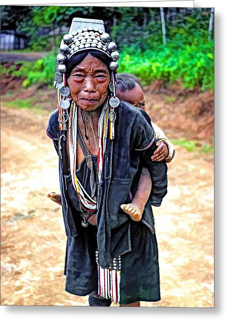Mother And Child Prints Greeting Cards - Akha Tribe paint filter Greeting Card by Steve Harrington
