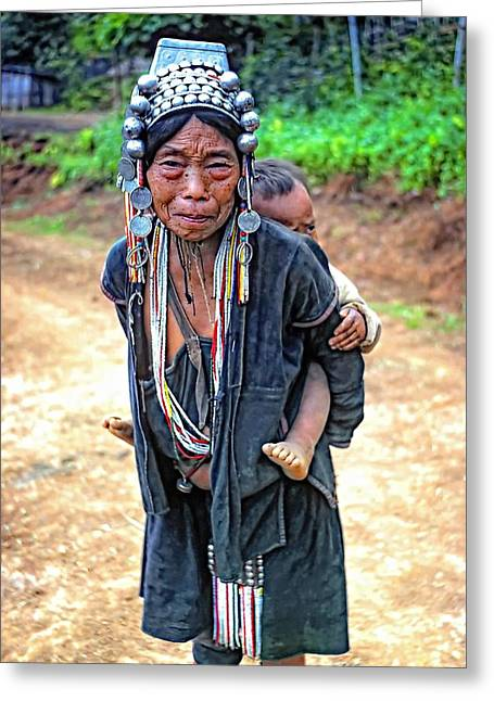Mother And Child Prints Greeting Cards - Akha Tribe Greeting Card by Steve Harrington