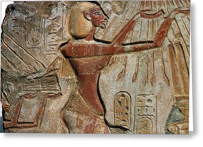 Pharaoh Greeting Cards - Akhenaten, New Kingdom Egyptian Pharaoh Greeting Card by Science Source