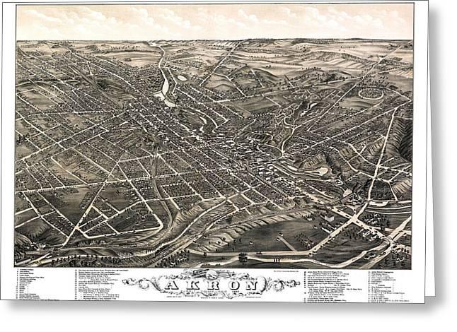 Akron - Ohio - 1882 Greeting Card by Pablo Romero