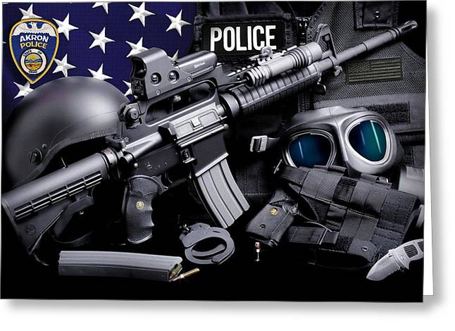 Akron Greeting Cards - Akron Police Tactical Greeting Card by Gary Yost