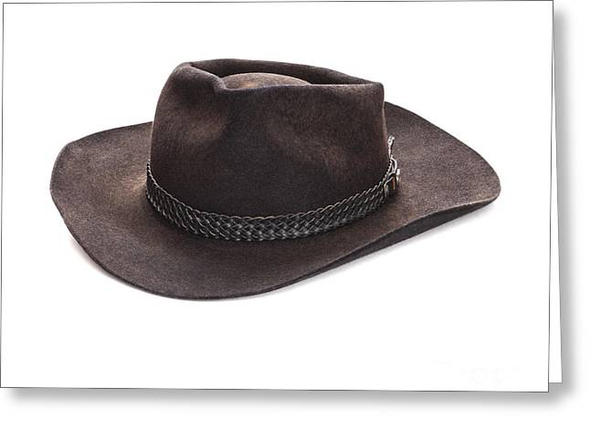 Isolated On Black Background Greeting Cards - Akubra Hat Greeting Card by Colin and Linda McKie