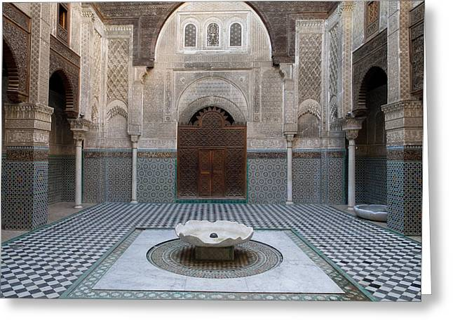 Moroccan Courtyard Greeting Cards - Al-attarine Madrasa Built By Abu Greeting Card by Panoramic Images