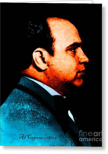 Humourous Greeting Cards - Al Capone c28169 - Black - Painterly - Text Greeting Card by Wingsdomain Art and Photography